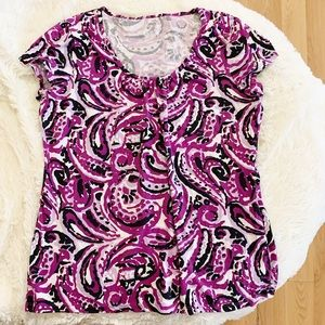 Merona Patterned Short Sleeve Scoop Neck T-Shirt L